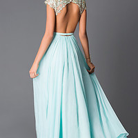 Long Aqua Beaded Cap Sleeves Open Back Prom Dress