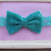 Turquoise Sequin Fabric Bow Lace Headband, Fabric Bow Headband For Girls, Head wraps, Pink glitter baby headband,Sequin Bow Headband