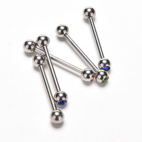 5 Pcs Lots Mixed Logo Ball Tongue Bars Rings Barbell Piercing Stainless Steel