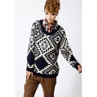 Vintage Style Scoop Neck Dolman Sleeve and Geometric Print Design Sweater For Women