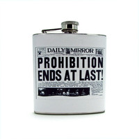 Vintage Newspaper Prohibition Ends Flask by thehairofthedog