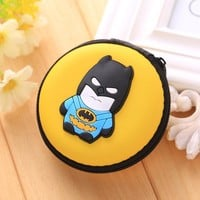 Kawaii Animals Cartoon Stitch Coin Wallets Silicone Coin Purse Key kids Boys Girls Earphone Organizer Box Bags Superman Wallet