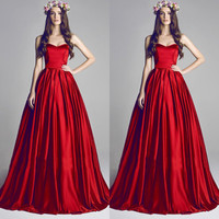 Red 2015 New Sweetheart Ruffle Ball Wedding Dress Evening Prom Party Formal Gown