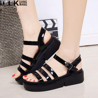 2017 Fashion Women Sandals Platform Wedges Gladiator Sandals Women Summer Shoes Flat Black White ladies sandals