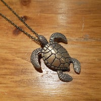 Bronze Sea Turtle Necklace   Candy's Cottage