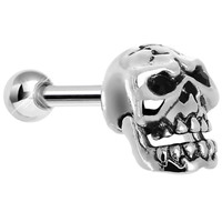 925 Silver Cracked Skull Tragus Cartilage Earring | Body Candy Body Jewelry