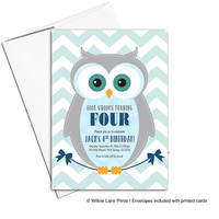 Boys 4th birthday invitations | Owl birthday party invitations | navy and mint | printable or printed - WLP00311