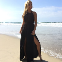 Luxurious Satin Maxi Dress In Black