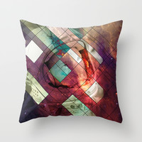 Space stained glass Throw Pillow by Tony Vazquez