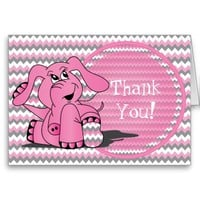 Funny Silly Pink Elephant Thank You Note Cards