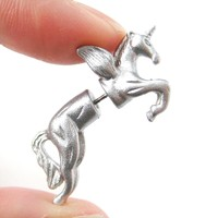 Fake Gauge Earrings: Mythical Unicorn Horse Animal Faux Plug Stud Earrings in Glittery Silver