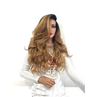 "Balayage Ombre Brown Blonde SWISS Lace Front Wig | 18"" Melania 1118 53"