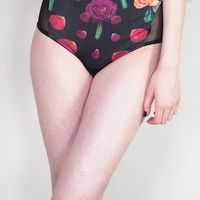 Gentle - Skull and rose botanical floral print underwear with sheer bottom and sides - panties