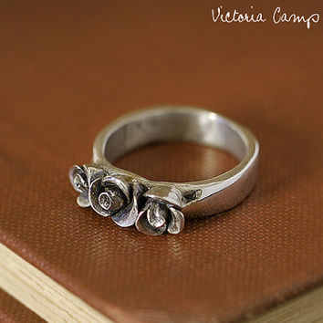 Fine Silver Rose Ring, Size 5 1/2, Hand Formed, Artisan, Floral, Nature, Bridal Wedding Gift, Petite - Ready to Ship