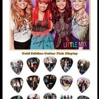 Little Mix 15 Celluloid Guitar Picks Gold Display