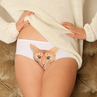 Women's Panties with cat face, Bridesmaids gift, Pussycat Underwear, Christmas gift, Gift for her