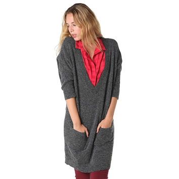 Gray oversize sweater with deep V-neckline