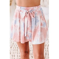 True Mood High Waisted Tie-Dye Print Shorts (Pink Combo)