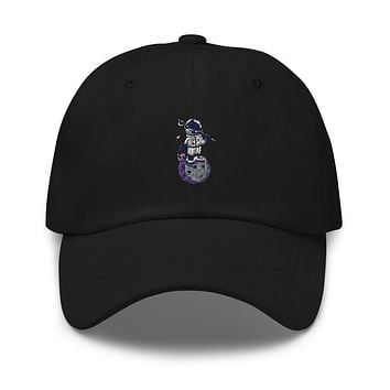 Astronaut Fishing Embroidered Strapback Dad Hat