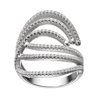 Cubic Zirconia Sterling Silver Bypass Ring (White)