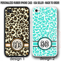 Personalized MONOGRAM MINT CHEETAH LEOPARD PRINT RUBBER CASE For iPhone 7+ 6S SE