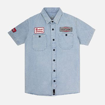 Patched Out Mechanic Shirt Light Washed