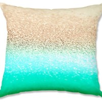 Decorative Woven Couch Throw Pillows from DiaNoche Designs by Monika Strigel Unique Bedroom, Living Room and Bathroom Ideas - Gatsby Aqua Ombre Gold