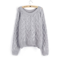 Women's Round Collar Long Sleeves Braid Pattern Sweater