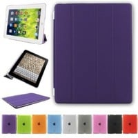 Bestdata Magnetic Smart Cover for Apple iPad 2 / iPad 3/ iPad 4 Bundle with Screen Protector, Cleaning Cloth & Stylus (Purple)