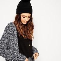 ASOS Short Turn Up Beanie With Pom