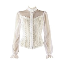 White Gothic Frilly Lace Blouse