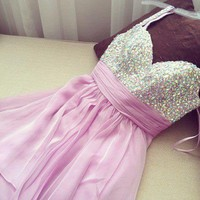 Lovely Sweetheart Mini Chiffon Prom Dress with Beadings