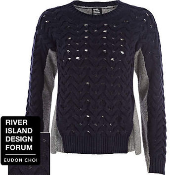 Navy Eudon Choi textured slit front sweater - sweaters - knitwear - women