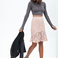 FOREVER 21 Fluted Lace Skirt Peach