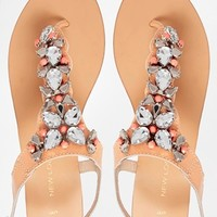 New Look Hype Leather Chunky Beaded Toe Post Flat Sandals