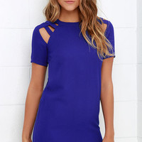 Shoulder Shrug Royal Blue Shift Dress