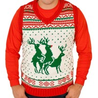 Reindeer Threesome Sweater Vest Limited Edition in White By Festified (3X-Large)