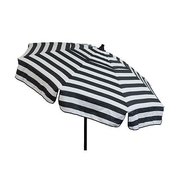 6 Foot Black White Stripe Drape Umbrella Manual Lift with Tilt