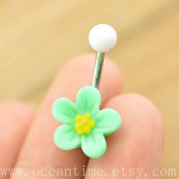 belly button jewelry, flower belly button rings, navel ring,little flower piercing belly ring, friendship gift