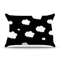 "Suzanne Carter ""Clouds"" Black White Pillow Case"