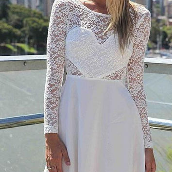 Cute lace heart sexy back bow dress