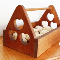 Wood Box with Handle Hearts - Wedding Flower Girl Wooden Cards Box - Farm House Party Favor Box - Vintage - Rustic Country Western Wedding