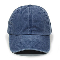 Plain Washed Cotton Twill Baseball Cap with Adjustable Velcro (Navy)