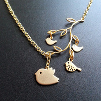 Matte Gold Mama Bird Two Tiny Baby Birds And One Teen Bird Branch Lariat Necklace Bird Family Gift For Mom Mother's Day Gift