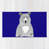 Blue Bear Rug, Blue Rug, Bear Bath Mat, Blue Bath Mat, Bear Throw Rug, Blue Throw Rug, Blue Floor Mat, Bear Carpet, Kids Rug