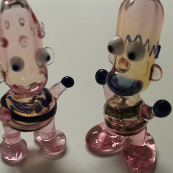 Hand Blown Glass Cartoon Character Pipes Bart Simpson