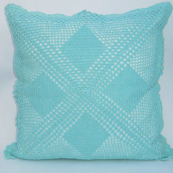 HANDMADE CROCHET CUSHION - 16 x 16 Inches - Turquoise Color - Sofa Cushion - Throw Pillow - Home Decor - Wedding Colors
