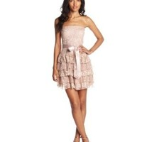 As U Wish Juniors Lace Embroidered Tiered Dress, Blush Gold, Small