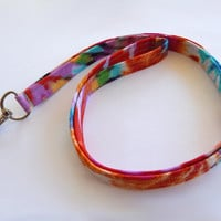 Tie Dye Lanyard / Hippie Lanyard / Colorful Keychain / Bohemian / Key Lanyard / ID Badge Holder / Back to School / 60s Inspired
