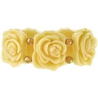 """1.5"""" Wide Vintage Style Resin Flower Bracelet,Stretch In Ivory with Gold Finish: Jewelry: Amazon.com"""